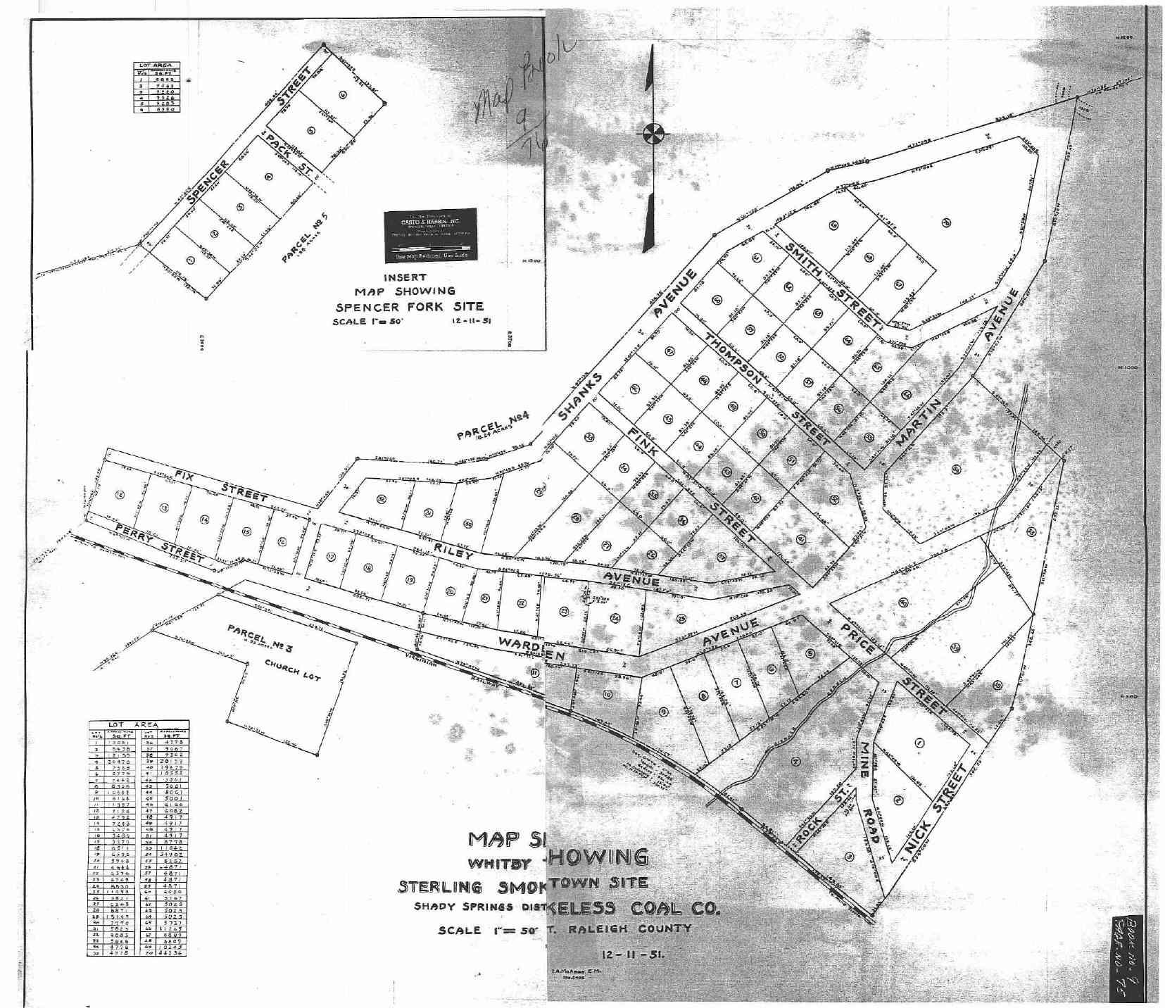 1950s Whitby WV Street Map